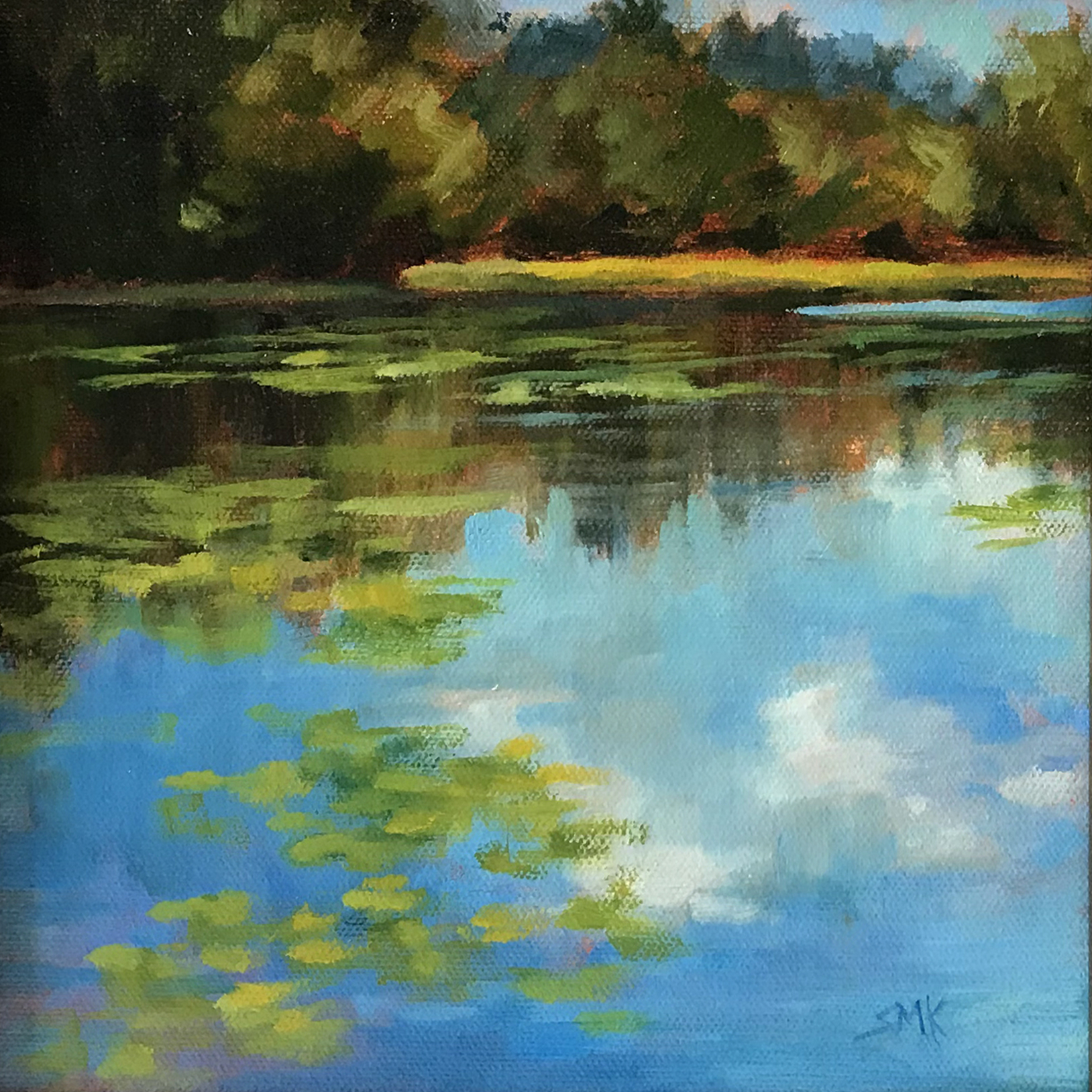 Sandra Kavanaugh Lily Pad Pond Oil 8x8 275