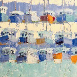 Ann Trainor Domingue Pattern in Blues acrylic 24x36 2,600