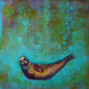 Rosemary Conroy The Beginning of Devotion: Harbor Seal Acrylic 24x24 $1,648