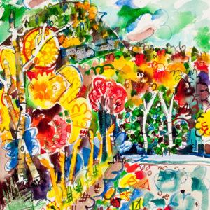 Bruce Mccolll Bald Mt Columbus Day Watercolor 24x30 3,000