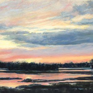 Judy McKenna Sunset Over Rye Marsh Pastel 9x12 650