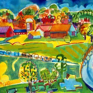 Bruce McColl Beech Hill Farm in Fall Watercolor 12x16 1500
