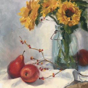 Sandra Kavanaugh Pears And Sunflower Oil 9x12