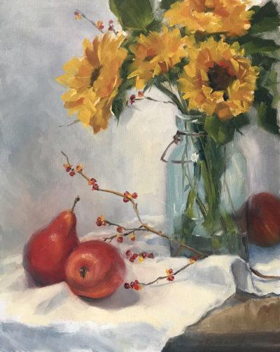 Sandra Kavanaugh Pears And Sunflower Oil 9x12