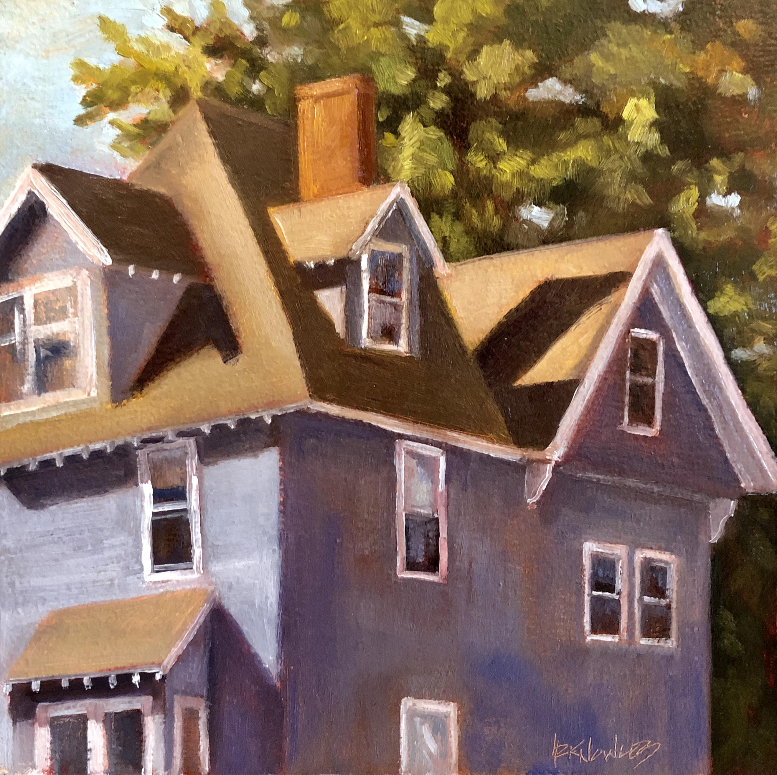 Randy Knowles Purple Gray Rooftops Oil 10x10 525