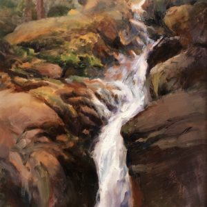 """Catherine Tuttle Waterfall in the Whites Oil 7.5""""x9.5"""" 725"""
