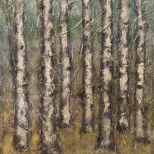 Darlene Robyn Birches #10 Watercolor Collage 8x10 150