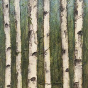 Darlene Robyn Birches #8 Watercolor Collage 6x7 150