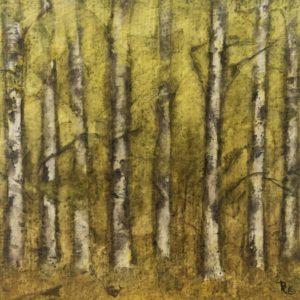 Darlene Robyn Birches #1 Watercolor Collage 6x6 150