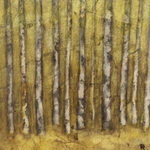 Darlene Robyn Birches #6 Watercolor Collage 7x7 150