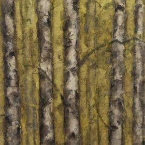 Darlene Robyn Birches #9 Watercolor Collage 6x11 150