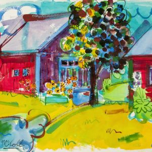 Bruce McColl Red Barn Blue Shadow Watercolor 24x30 3,000