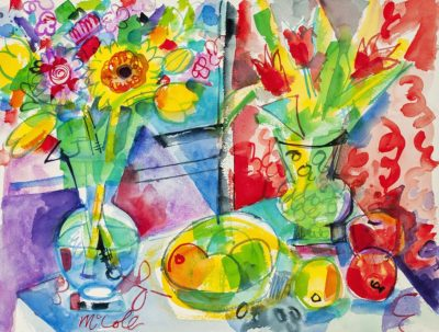 Bruce McColl Tulips and Daisies Watercolor 24x30 3,000