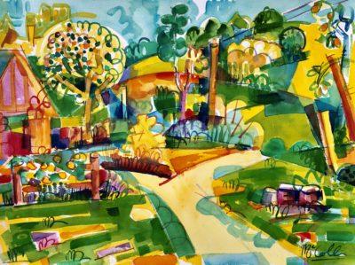 Bruce McColl Beech Hill Golden Light, watercolor, 18x24 2800