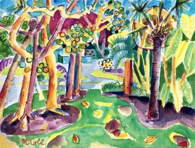 Bruce McColl Dancing Palms, Sanibel watercolor 12x16 1500