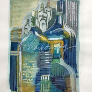 Ann Trainor Domingue Reflecting on the Wine Watercolor 5x7 150