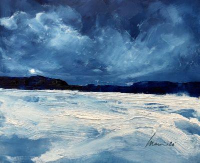 Richard Morin Winter Lake Moon Oil 8x10 225