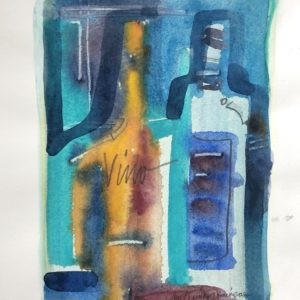 Ann Trainor Domingue Vino Night Watercolor 5x7 150