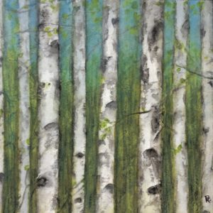 Darlene Robyn Birches #7 Watercolor Collage 7x7 150