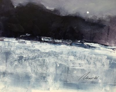 Richard Morin Winter Meadow Moon Oil 8x10 225