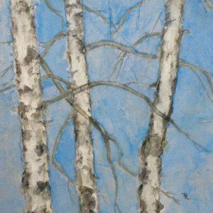 Darlene Robyn Birches #5 Watercolor Collage 7.5x7.5 150
