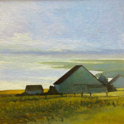 Sandy Wadlington Barns in Fog PEI Oil 8x8 400