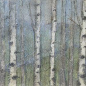 Darlene Robyn Birches #4 Watercolor Collage 8.5x5 150