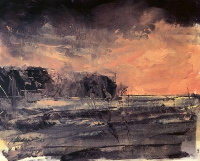 Richard Morin Marsh Sunset Oil 8x10 225