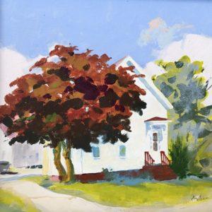 Judy McLean Crimson Tree Acrylic 10x10 450