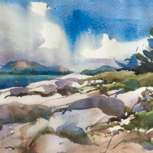 Becky Darling View from Baker Island Watercolor 11x18 475