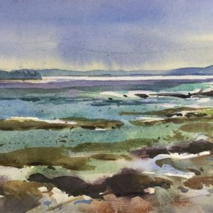 Becky Darling Approaching Storm, Adams Point Trail Watercolor 14x5 200