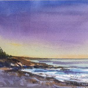 Becky Darling Evening Light on the Coast Watercolor 6x6.5 295