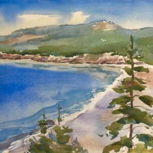 Becky Darling Acadia View of Sand Beach Watercolor 14x20 475
