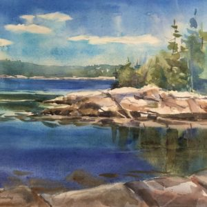 Becky Darling Swans Island Blues with Three Gulls Watercolor 13x20 475