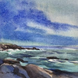 Becky Darling Approaching Strorm NH Watercolor 6x6.5 295