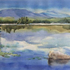 Becky Darling Kasumpe Blues Watercolor 10x20 350