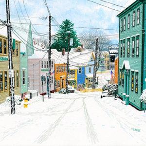 Roger Bigg snowing marcy street gouache 15x22 650