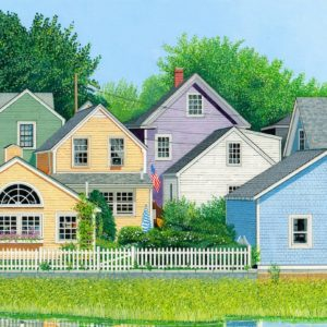 Roger Bigg Colorful Houses Portsmouth Gouache 15x22 650