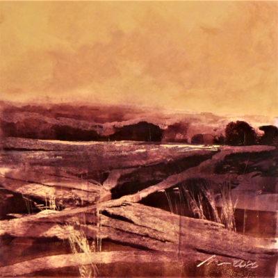 Richard Morin Crimson Field Dusk II Oil 12x12 300