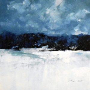 Richard Morin Winter Night Pond oil 12x12 300