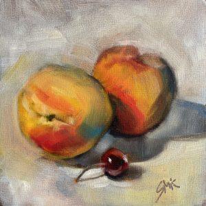 Sandra Kavanaugh Peaches and Friend oil 6x6 150