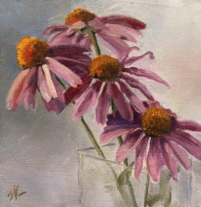 Sandra Kavanaugh Coneheads oil 6x6 125