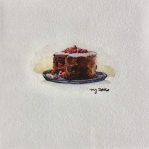 Maggie Green Chocolate Cake watercolor 3.5x3.5 225