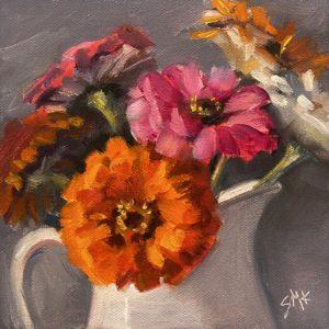 Sandra Kavanaugh Zinnias In White Pitcher oil 6x6 150