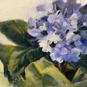 Sandra Kavanaugh Blue Hydrangea oil 6x6 125