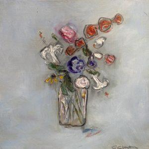 Connie Clanton Two White Lilies oil 7x7 125