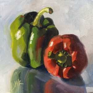 Sandra Kavanaugh Looking After Each Other oil 6x6 150
