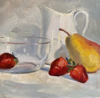 Sandra Kavanaugh Pear Strawberries & Pitcher oil 6x6 150