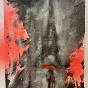 Patrick McCay Paris In The 3 Rain oil 8x10.5 165