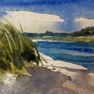 Becky Darling Parsons Beach watercolor 2.5x5.5 100